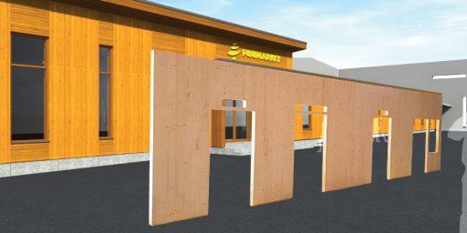 Puumarketi kauplus valmib Arcwoodi ristkihtpuit elementidest